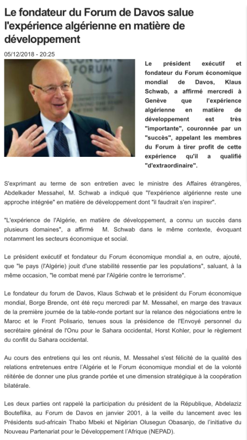Klaus Schwab, World Economic Forum, Messahel